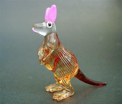 Little Glass KANGAROO Wallaby Painted Glass Animal Figure Glass Ornament Gift
