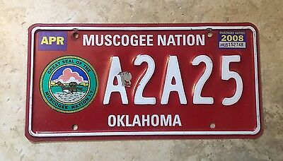 2008 Oklahoma Muscogee Nation Tribe Reservation License Plate A2A25