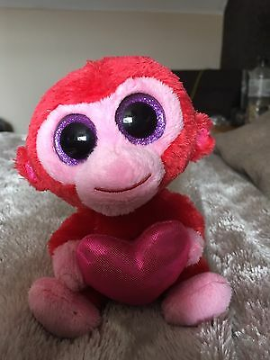 TY Beanie Boo Charming Red Monkey Heart Glubschi Valentine's Day 2013 + Tag