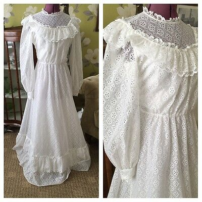 Vintage 70's White Lace Ruffle Trim Long Sleeve Boho Wedding Dress Size 8-10