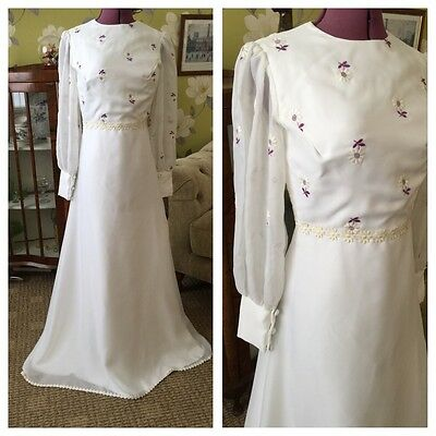 Vintage 70's White Embroidery Purple Floral Bodice Bohemian Wedding Dress 6-8