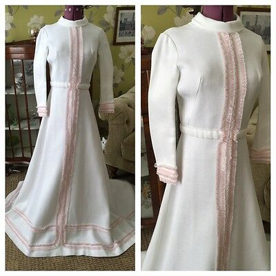 Vintage 1960's Mod White & Pink Lace Trim Belted Wedding Train With Gown Size 8