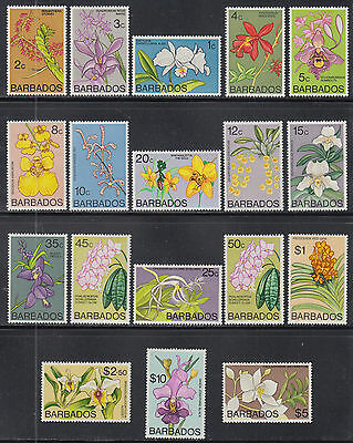 Barbados 396-411 VF MNH 1974 Elizabeth II Orchids Flowers Set of 18 SCV $45.85