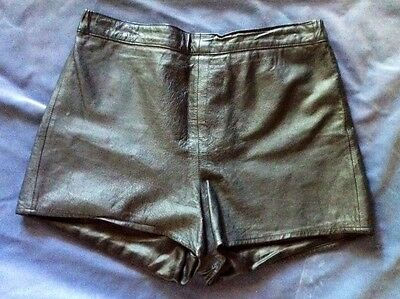 "Vintage Black Leather Shorts 34"" Waist Rocker Biker Chick Festival Women's"