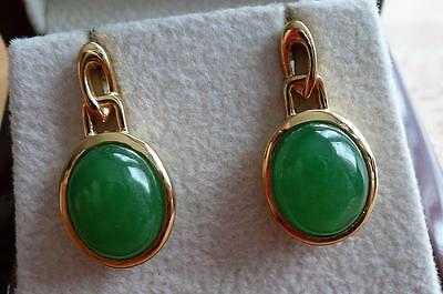 Cabochon Green Jade 925 Sterling Silver Yellow Gold Large Stud Oval Earrings