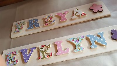 Childrens Wooden Bedroom Door Name Plaque with Floral Fabric Coated Letters
