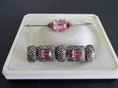 2  ANTIQUE EDWARDIAN DECO BROOCHES PINS with PINK PASTE STONES