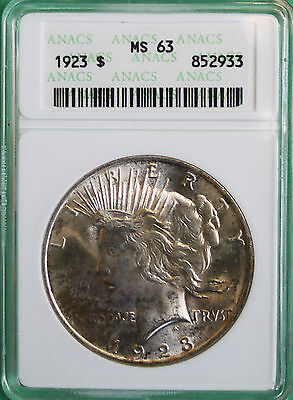 1923 Silver Peace Dollar ANACS MS 63 Uncirculated $1 Coin