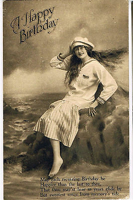Vintage 1900s BIRTHDAY POSTCARD: BEAUTIFUL GIRL IN SAILOR COSTUME: METHODIST