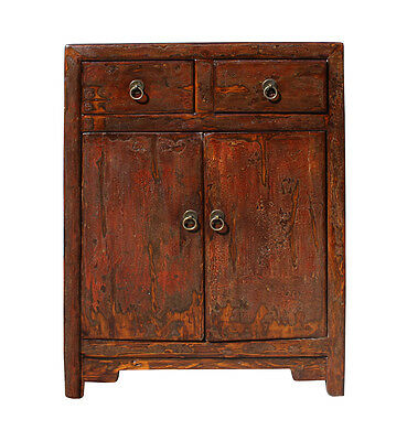 Oriental Chinese Distressed Brown Side Table Cabinet cs2751