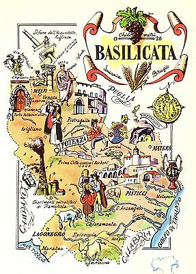 Vintage BASILICATA ITALY Map Picture Map of Italy Pictorial Map Fra 3829