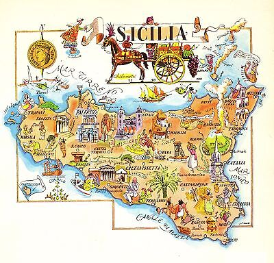 Vintage SICILY ITALY Map Picture Map of Italy Pictorial Map Fra 3830