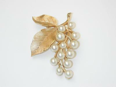 Trifari Vintage Faux Pearl & Double Leaf Brushed Gold Tone Pin
