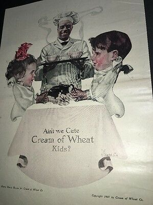 Cream Of Wheat Ad Rastus  Black Man Memorabilia 1917 Cute Kids Benton Art