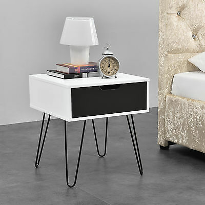 [en.casa] Side Table White/Grey Night Table Nightstand Dresser Telephone