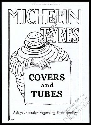 1919 BIG Bibendum Michelin Man Michelin tires covers tubes vintage print ad