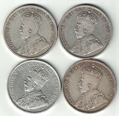 4 X Newfoundland 50 Cents George V Sterling Silver Coins 1911 1917 1918 1919