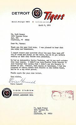 1974 Ernie Harwell Signed Letter About Charlie Pride w/Envelope