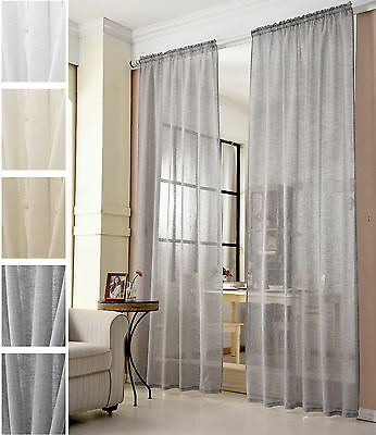 gardinen stores kr uselband vorh nge transparent schal voile leinen optik 630 eur 12 95. Black Bedroom Furniture Sets. Home Design Ideas