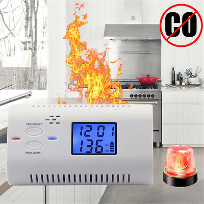 Co Carbon Monoxide Detector LCD Display Alarm Gas Sensor Test Fire Voice Warning