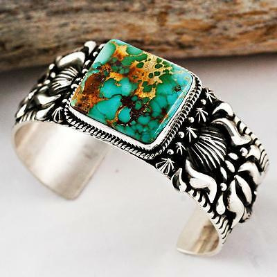 A+ Darryl Becenti Natural ROYSTON Turquoise Bracelet Sterling Silver Navajo Mens