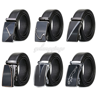 Luxury Casual Mens Genuine Belt Genuine Leather Automatic Buckle Waistband Strap
