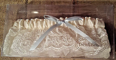 David's Bridal Ivory Layered Lace Garter with Blue Bow - NEW in Box ~ Fast Ship!