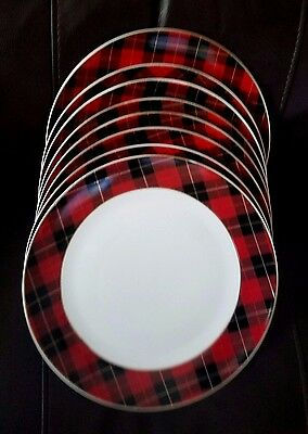 Grace's Teaware Traditional Red Tartan Plaid Christmas Dinner Plate Set Of 8 New