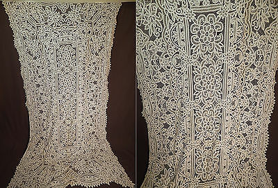 Antique White Battenburg Tape Lace Large Banquet Tablecloth Textile Fabric Vtg