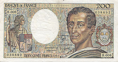 France. Billet de 200 Francs Montesquieu. 1981. Alphabet H.006.