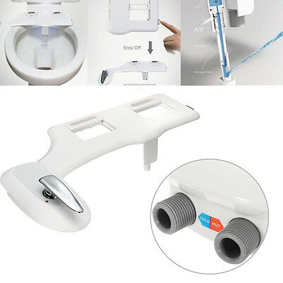 Non-Electric Bidet Toilet Seat Attachment Self-Clean Noozle Hot Cold Water G3/8