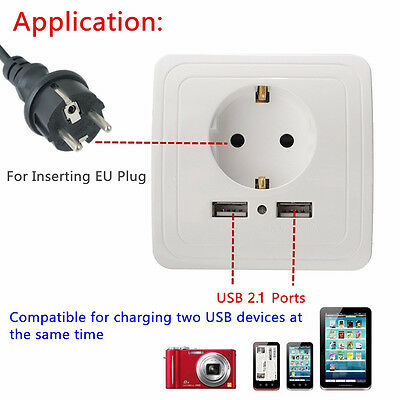 Dual USB Port Electric Wall Charger Station Socket Adapter Power Outlet EU QB2