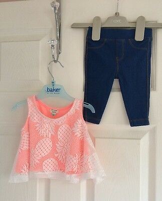 Girls River Island Pineapple Summer Top & Jegging Leggings Set Age 0-3 Mths
