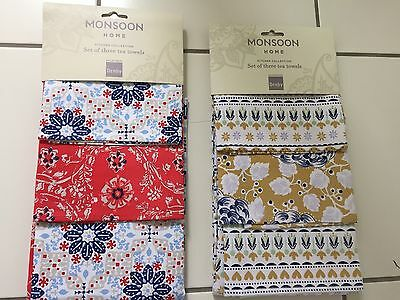 Monsoon Home Set Of 3 Large Cotton Tea Towels, 2 Designs BNWT