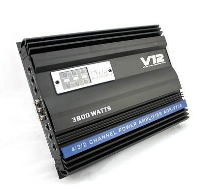 3800W 12V 4 Channel Car Audio Stereo Power Amplifier 4ohm Speaker