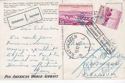 1955 El Salvador Airmail Ppc To Belgium Then Returned With Label & Cachets 30*