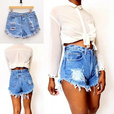 Ladies Vintage Ripped Women's Denim Shorts High Waisted Shorts Jeans Hot pants