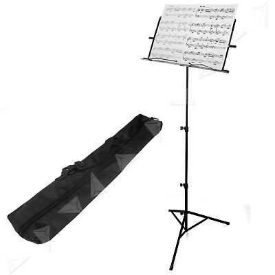 Sheet Music Stand Black Adjustable Foldable With Carry Bag