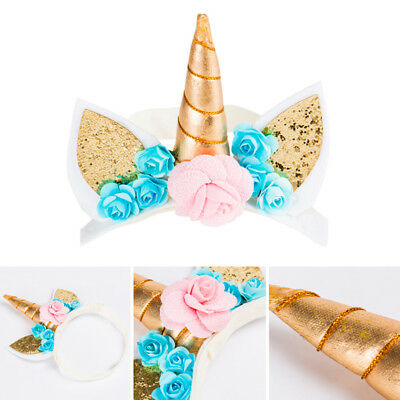 Magical Unicorn Floral Horn head Hair Headband Cosplay Costume Kid's Party props