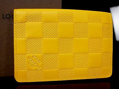 Authentic LOUIS VUITTON Damier Infini Card Case Holder Yellow Unused K48
