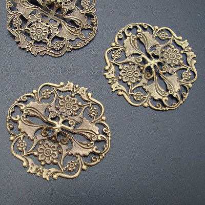 5 FILIGREE Vintage ORNAMENT Messing Bronzefarbe Verbinder Filigran - p00942x2