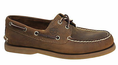 Timberland 2 Eye Classic Leather Brown Lace Up Mens Boat Shoes 1001R U29