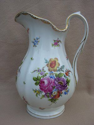 Antique Continental Dresden Carl Thieme Huge Porcelain Wash Jug Hand Painted
