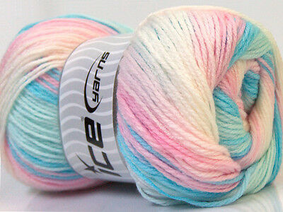 Lot of 4 x 100gr Skeins Ice Yarns MAGIC BABY Wool Blue Pink White