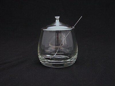 Towle Jam jar Sterling Silver & Glass w Silver Spoon w Jade Enamel in Finial