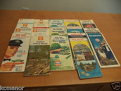 18 Vintage ROAD GAS STATION MAPS   SHELL GULF SUNOCO DX EAST COAST 60's 70's