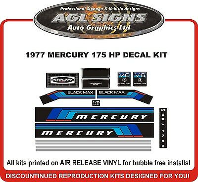 1977  MERCURY MARINE 175 hp V6 DECALS, MERC BLACK MAX 1750