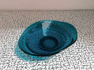 60s 70s Vintage Retro Kitsch Turquoise Blue Art Glass Bowl Dish Sowerby