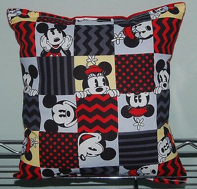Mickey Mouse Pillow Mickey and Minnie Pillow Black & Red Handmade In USA Tic Tac