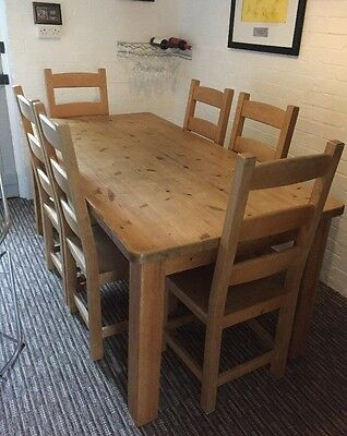 Pine Dining Table with 6 Matching Chairs